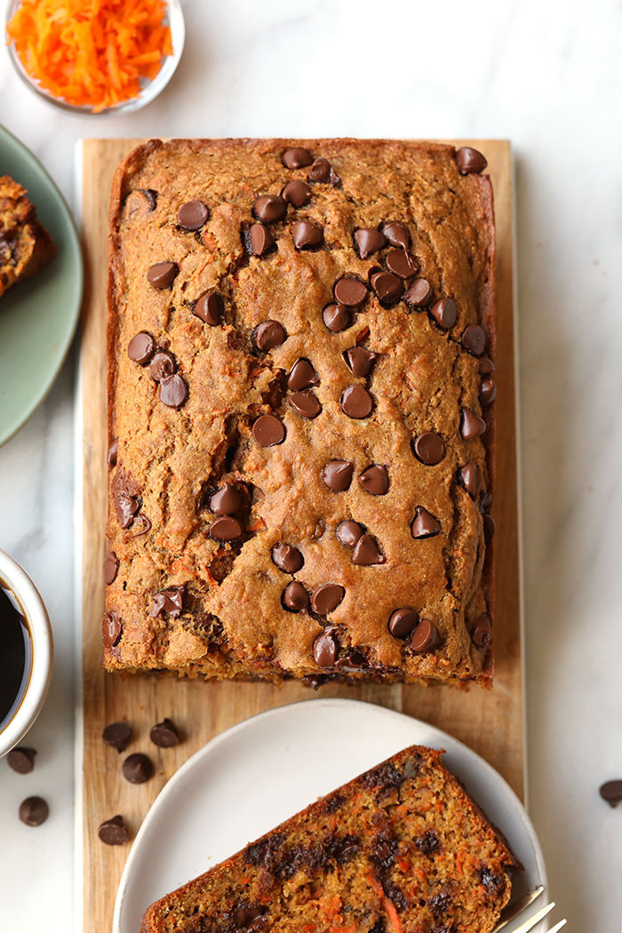 Carrot Bread Healthy  Healthy Chocolate Chip Carrot Cake Loaf VIDEO Fit