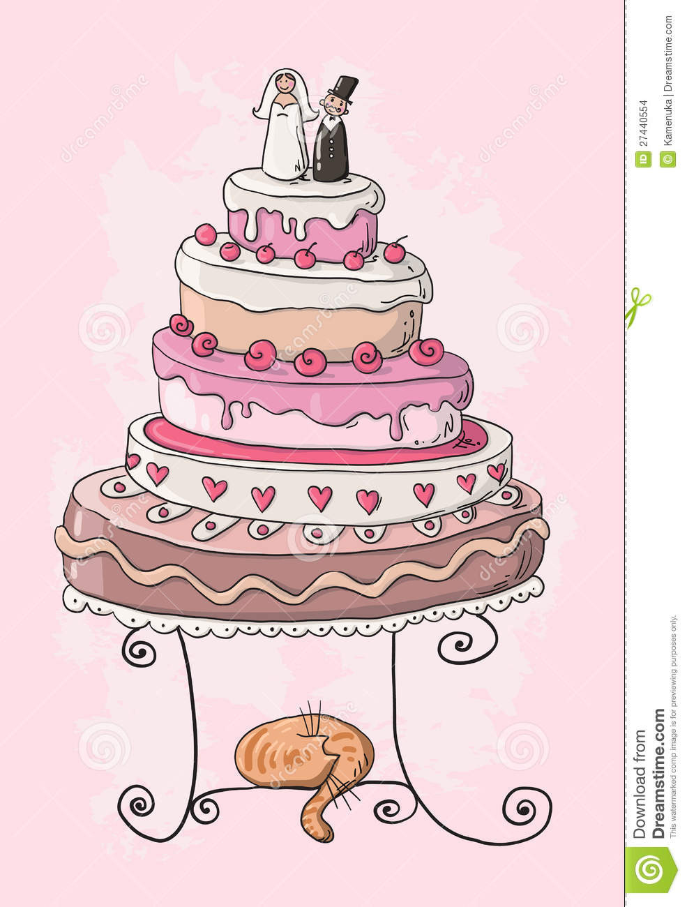 Cartoon Wedding Cakes  Wedding Cake Cartoon Stock Image