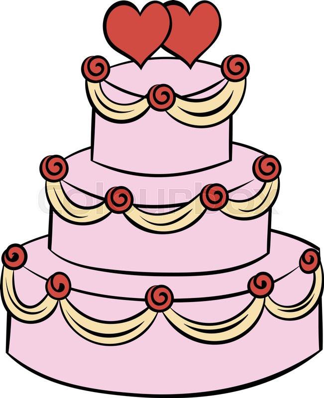 Cartoon Wedding Cakes  Wedding cake icon in cartoon style