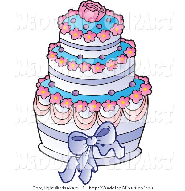 Cartoon Wedding Cakes  Vector Cartoon Marriage Clipart of a Wedding Pink Blue and
