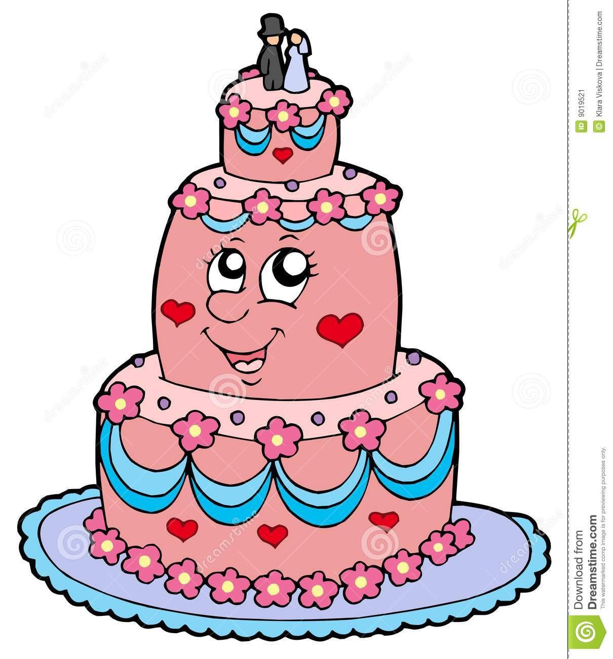 Cartoon Wedding Cakes  Cartoon wedding cake stock vector Illustration of