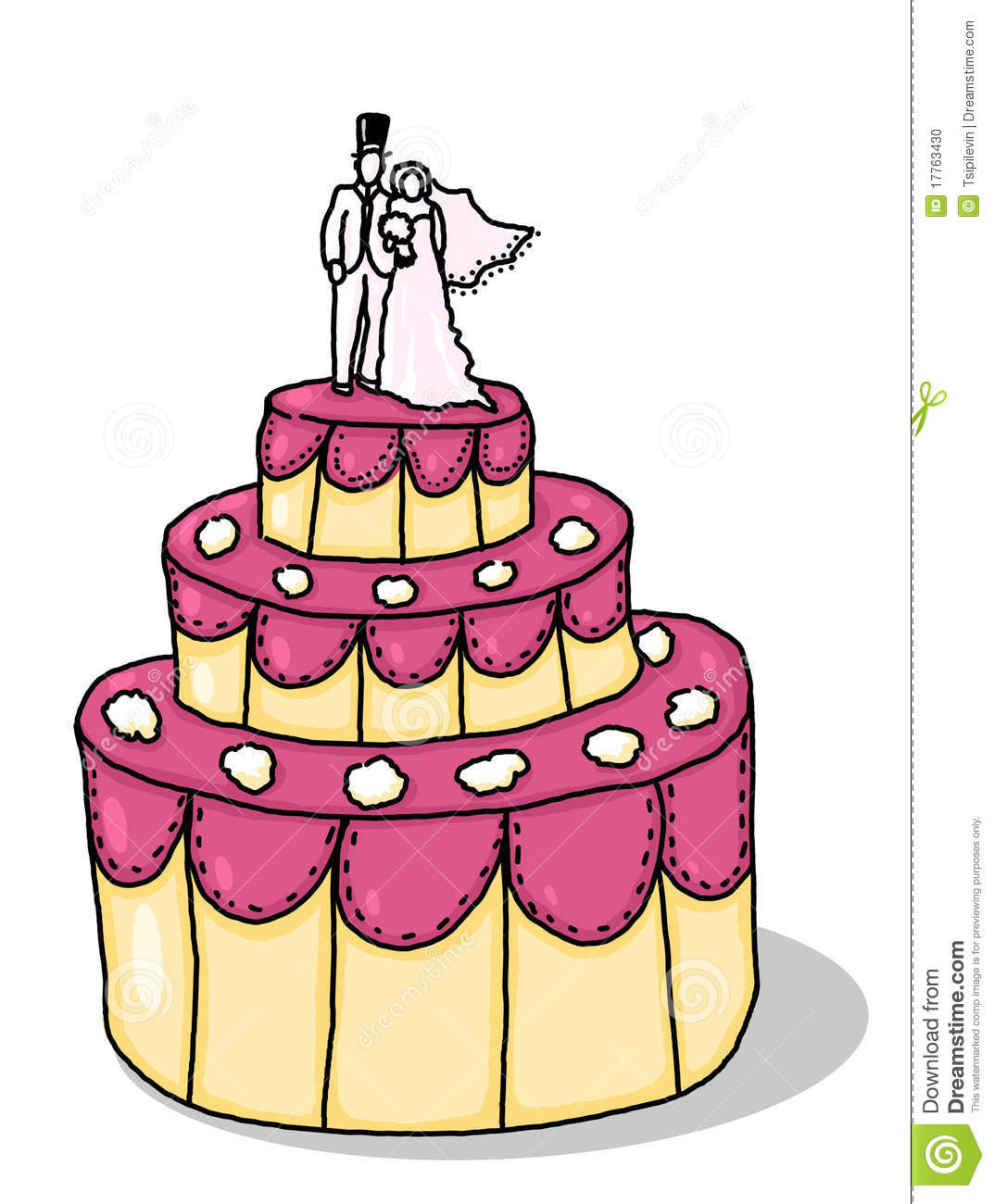 Cartoon Wedding Cakes  Drawn wedding cake cartoon Pencil and in color drawn