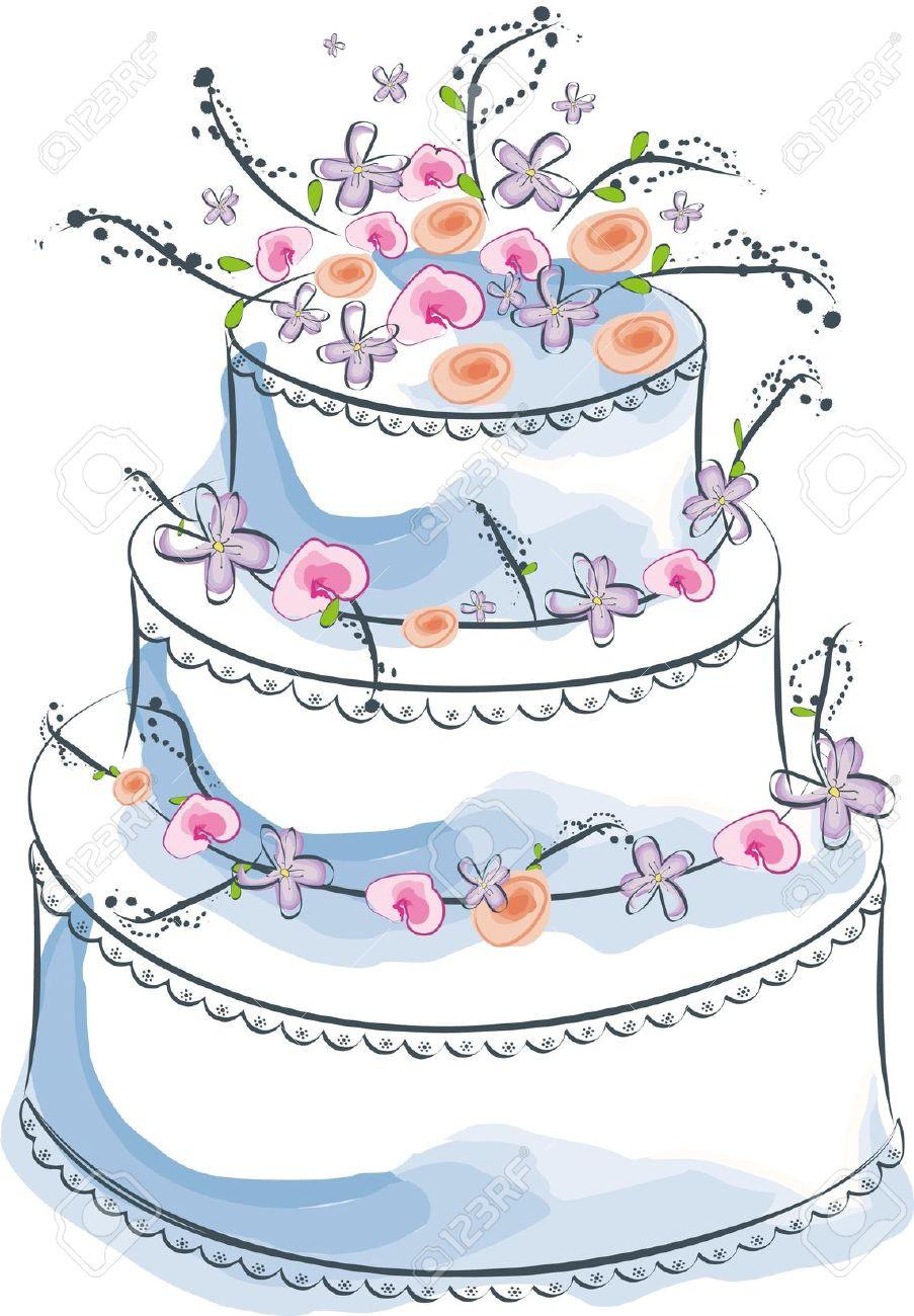 Cartoon Wedding Cakes  Wedding Cake clipart cartoon Pencil and in color wedding