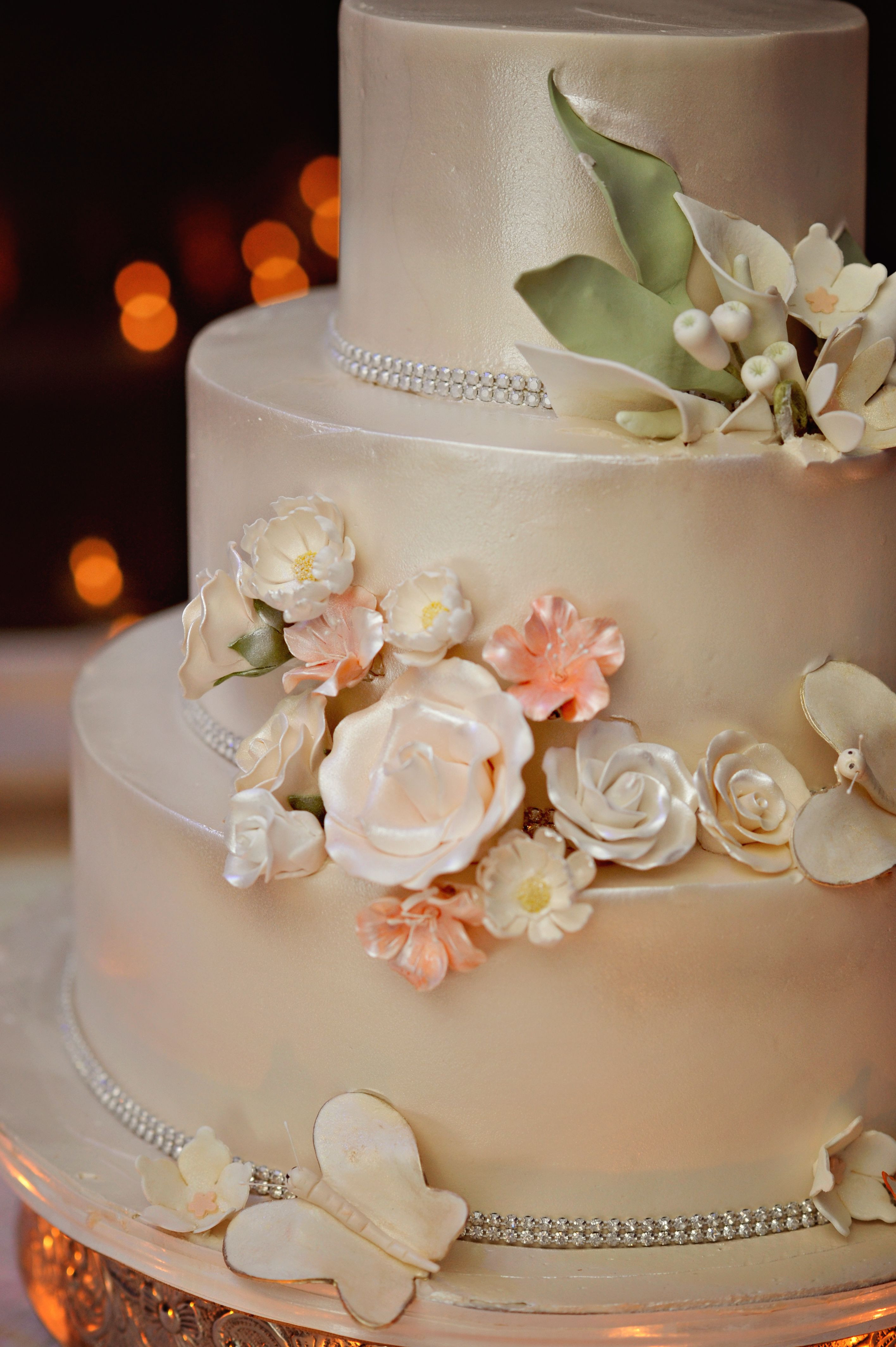 Champagne Color Wedding Cakes  Three Tier Wedding Cake With Champagne Colored Luster Dust