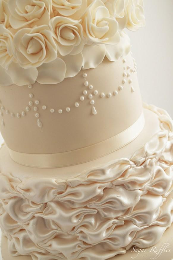 Champagne Color Wedding Cakes  Ivory Wedding Ivory & Champagne Wedding Cake