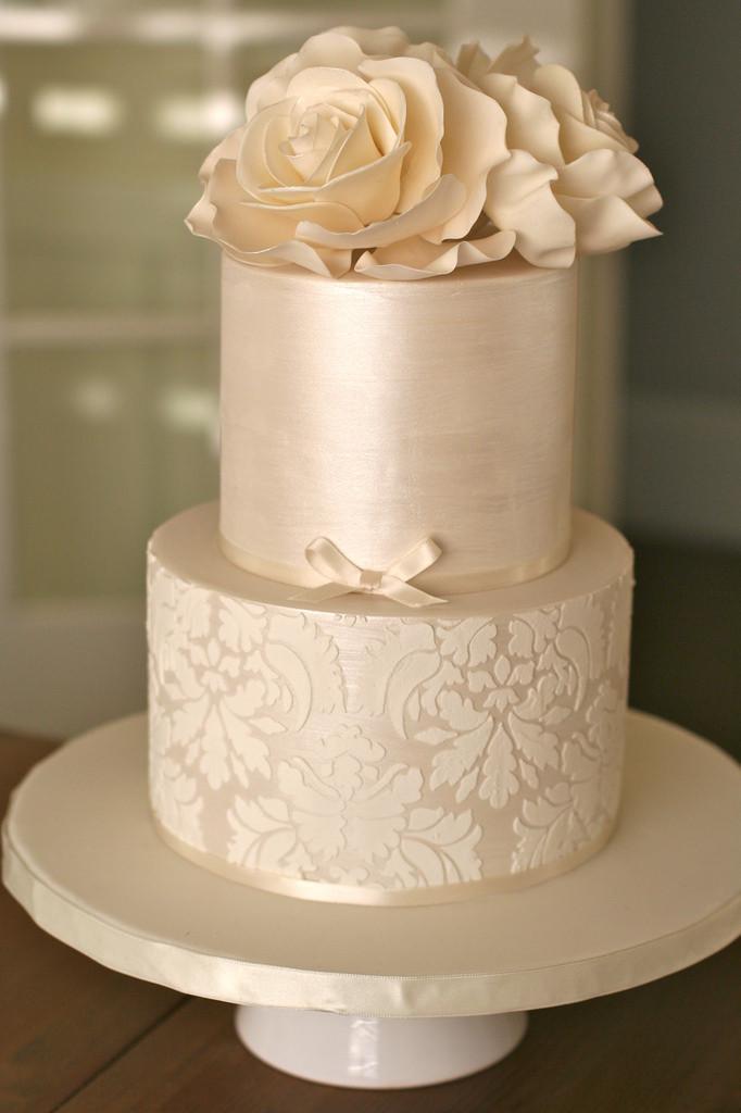 Champagne Color Wedding Cakes  Shimmer and Damask Wedding Cake