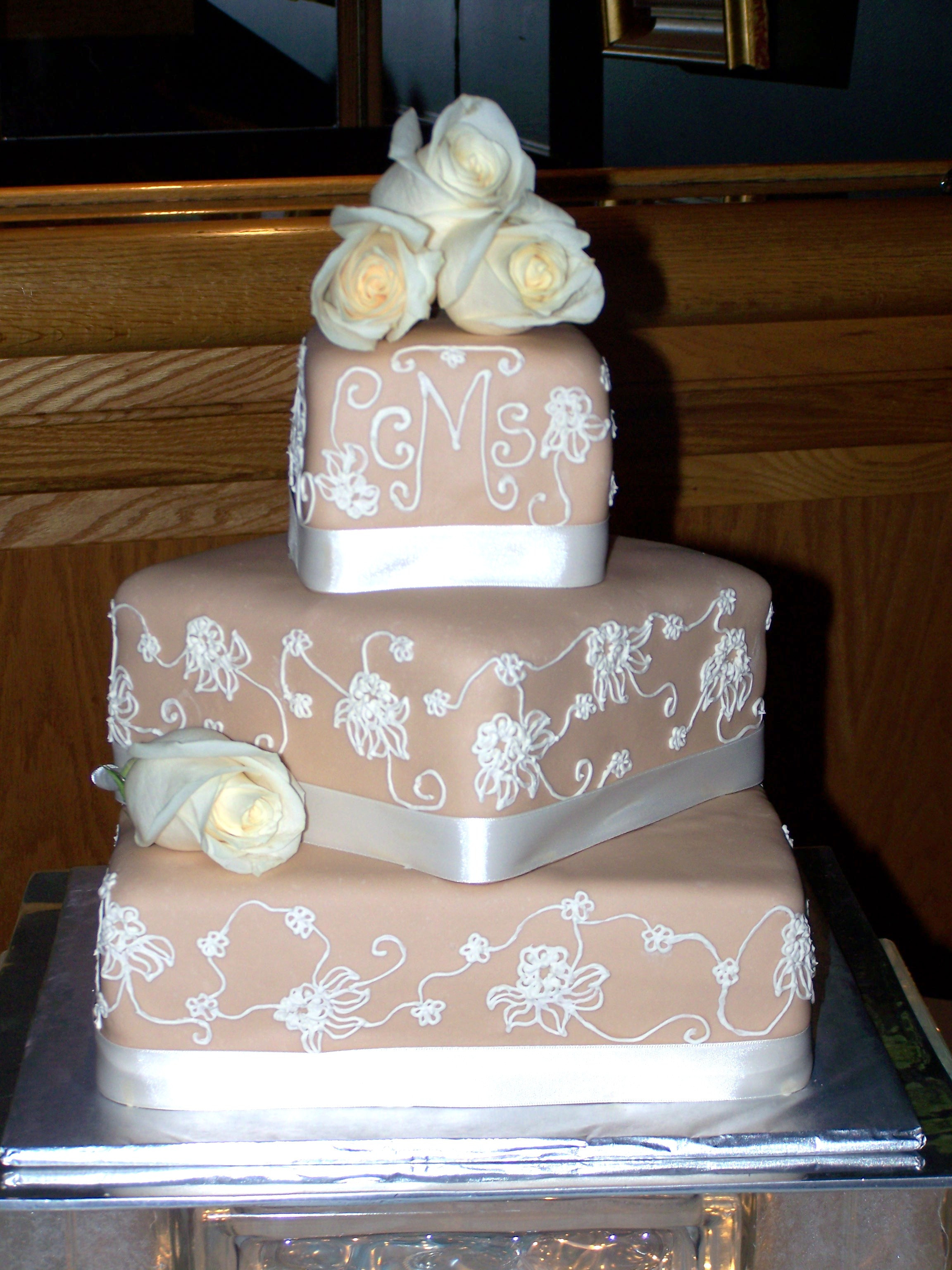 Champagne Colored Wedding Cakes  Champagne Ivory Wedding Cake