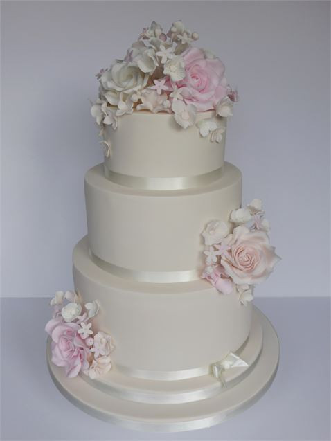 Champagne Coloured Wedding Cakes  Ivory Blush & Champagne Wedding Cake from Cookie Delicious