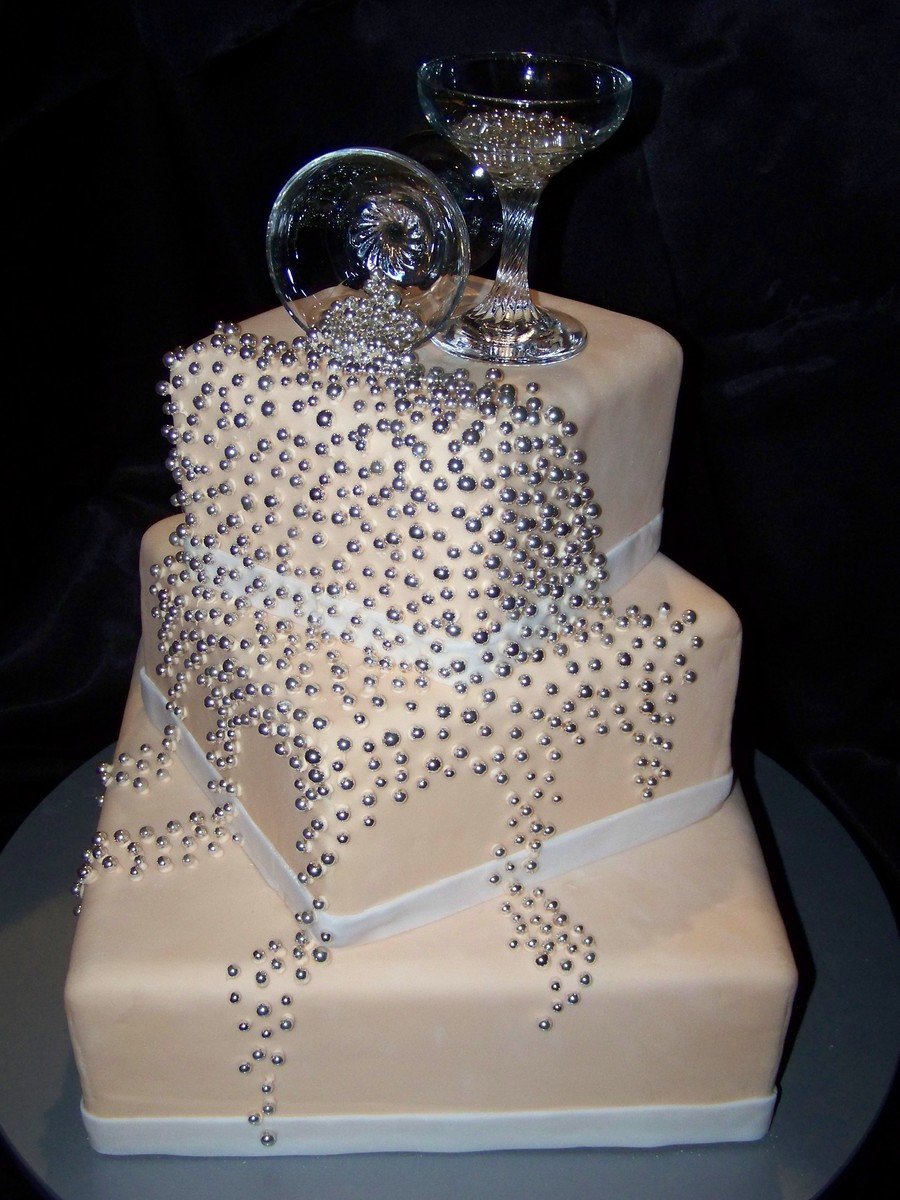 Champagne Coloured Wedding Cakes  Spilled Champagne Wedding Cake CakeCentral