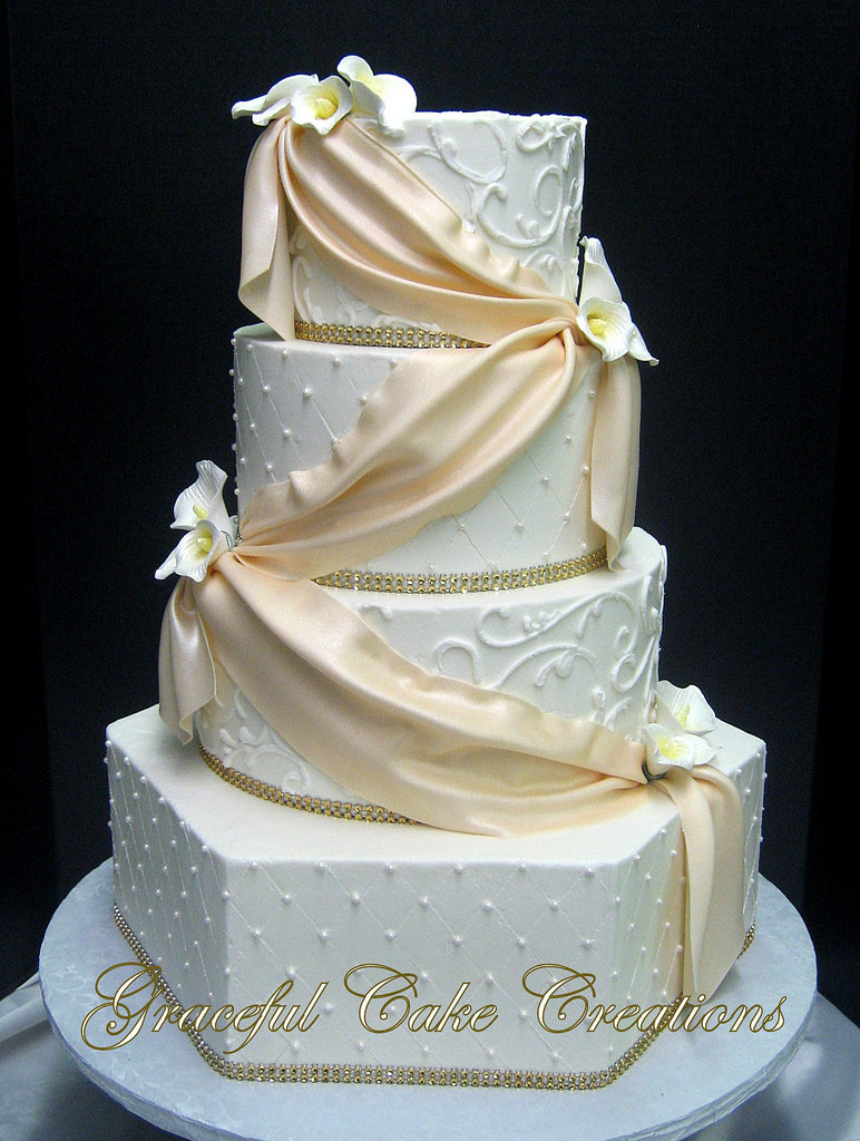 Champagne Coloured Wedding Cakes  Elegant White Butter Cream Wedding Cake with a Champagne C