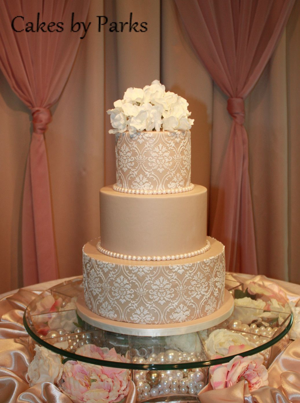 Champagne Coloured Wedding Cakes  Like the color and roses of this one Would want ivory and