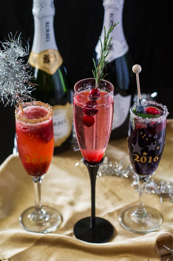 Champagne Drinks For Summer  Berry Champagne Cocktail Trio • The Crumby Kitchen