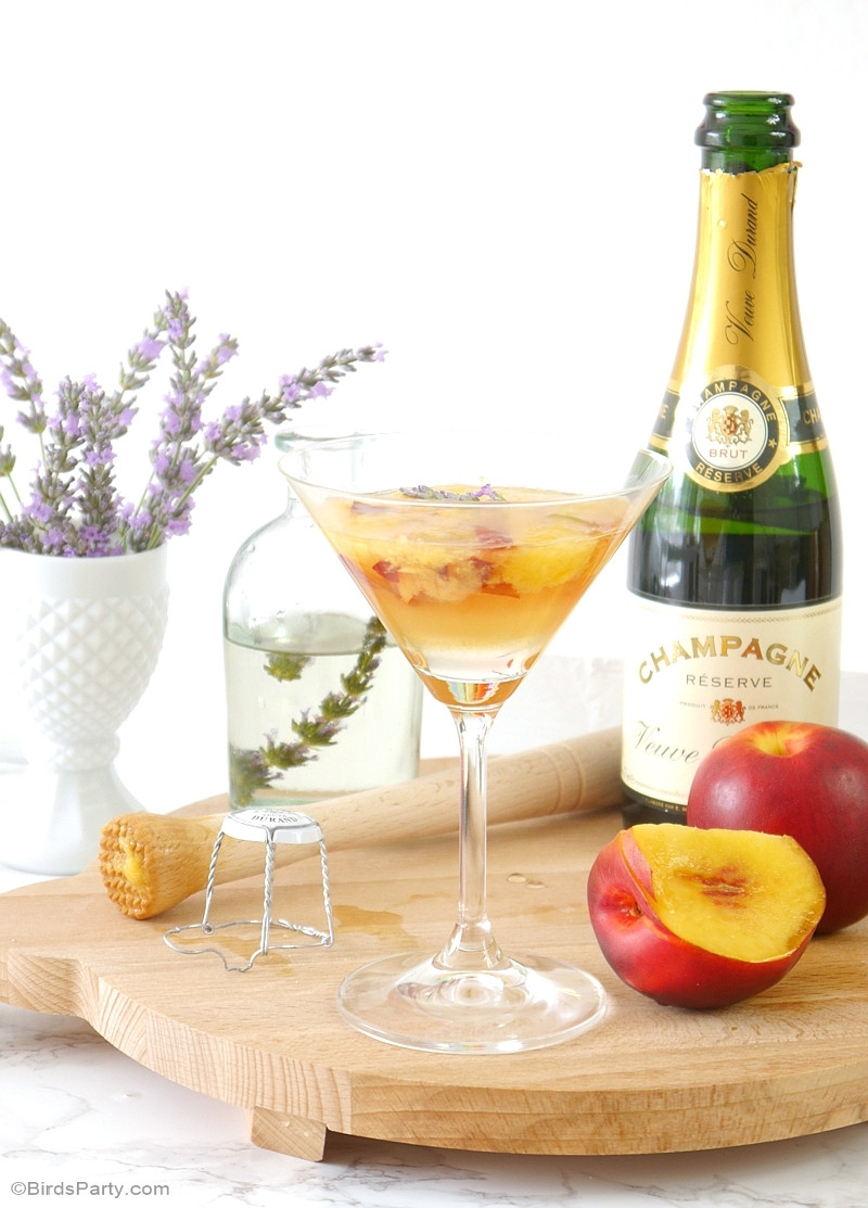 Champagne Drinks For Summer  Lavender & Peach Champagne Cocktail Recipe Party Ideas