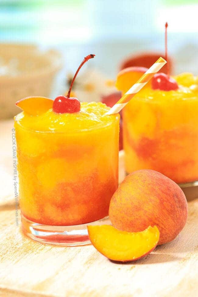 Champagne Drinks For Summer  Frozen Peach Champagne Cocktail Spend With Pennies