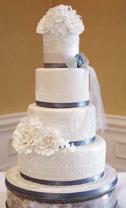 Chantilly Wedding Cakes  Chantilly lace wedding cake cake by Little Black Cat