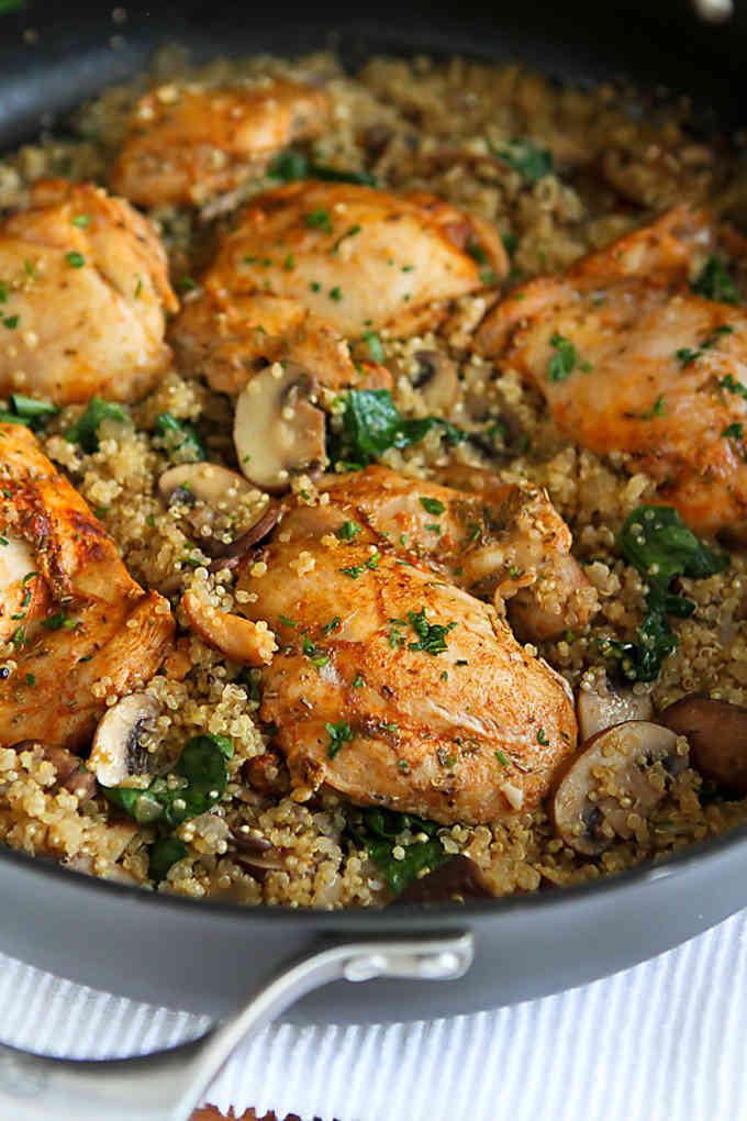 Chicken And Quinoa Recipe Healthy  e Pot Chicken Quinoa Mushrooms & Spinach Easy Dinner