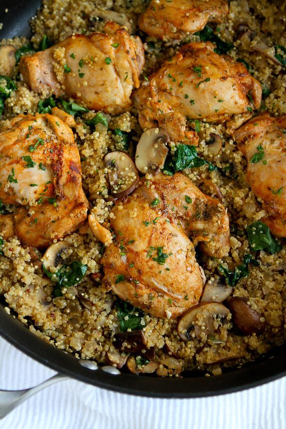 Chicken And Quinoa Recipe Healthy  e Pot Chicken Quinoa Mushrooms & Spinach Recipe