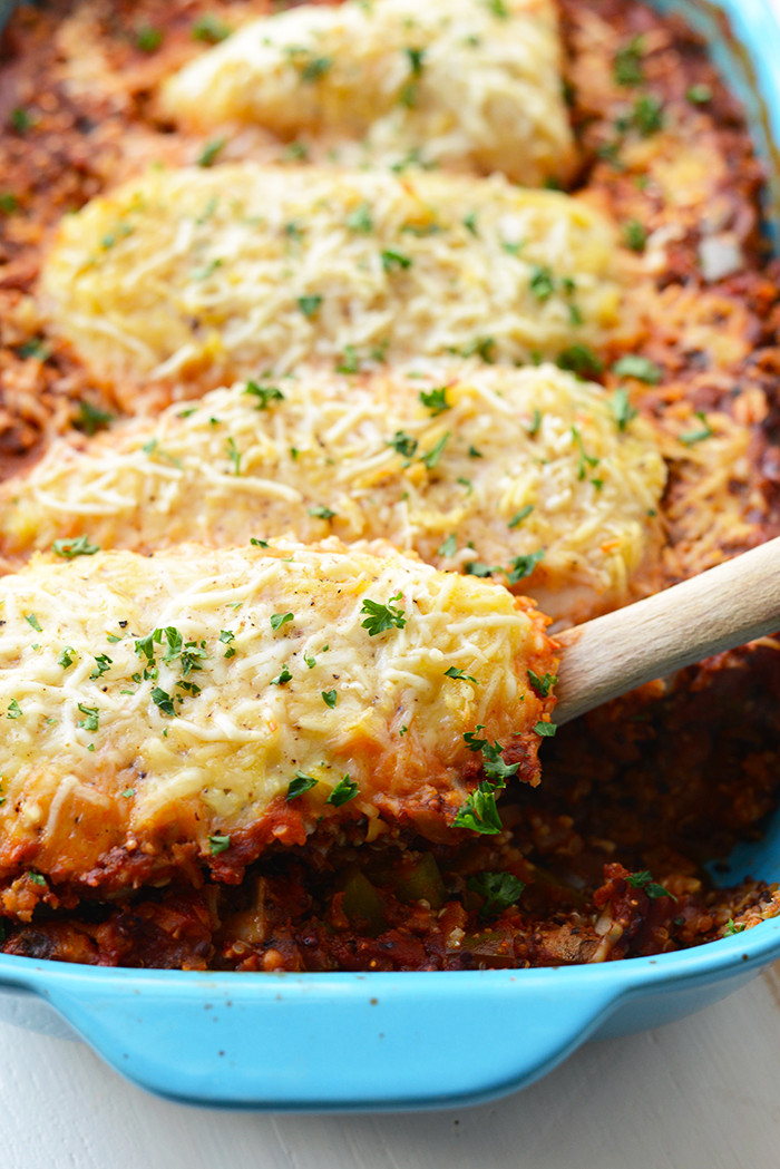 Chicken Casserole Recipes Healthy  Healthy Chicken Parmesan Quinoa Bake Fit Foo Finds