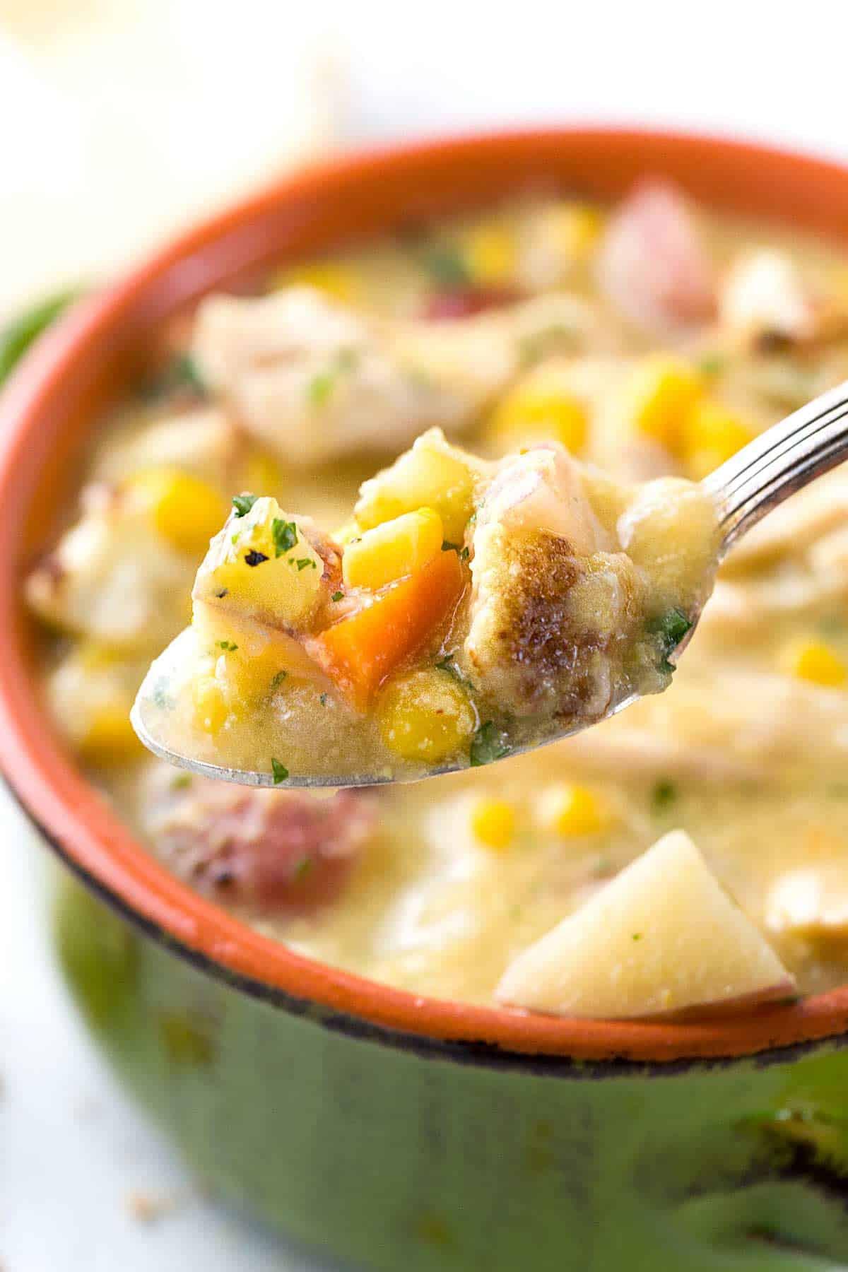 Chicken Corn Chowder Healthy  Slow Cooker Cauliflower Corn Chowder Recipe
