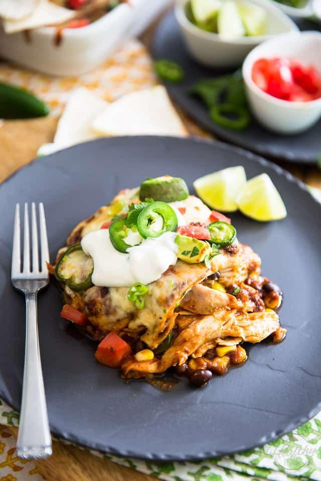 Chicken Enchilada Casserole Healthy  Chicken Enchilada Casserole • The Healthy Foo