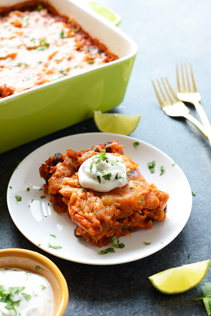 Chicken Enchilada Casserole Healthy  Healthy Chicken Enchilada Casserole with Brown Rice Fit