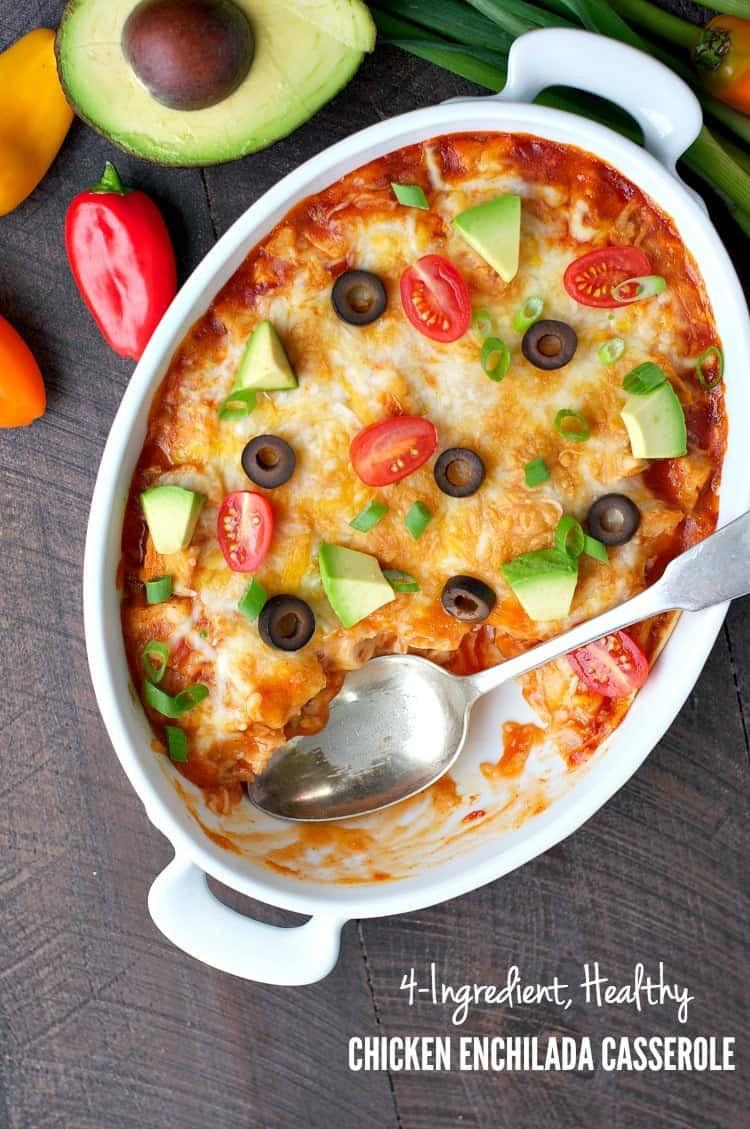 Chicken Enchilada Casserole Healthy  4 Ingre nt Healthy Chicken Enchilada Casserole The