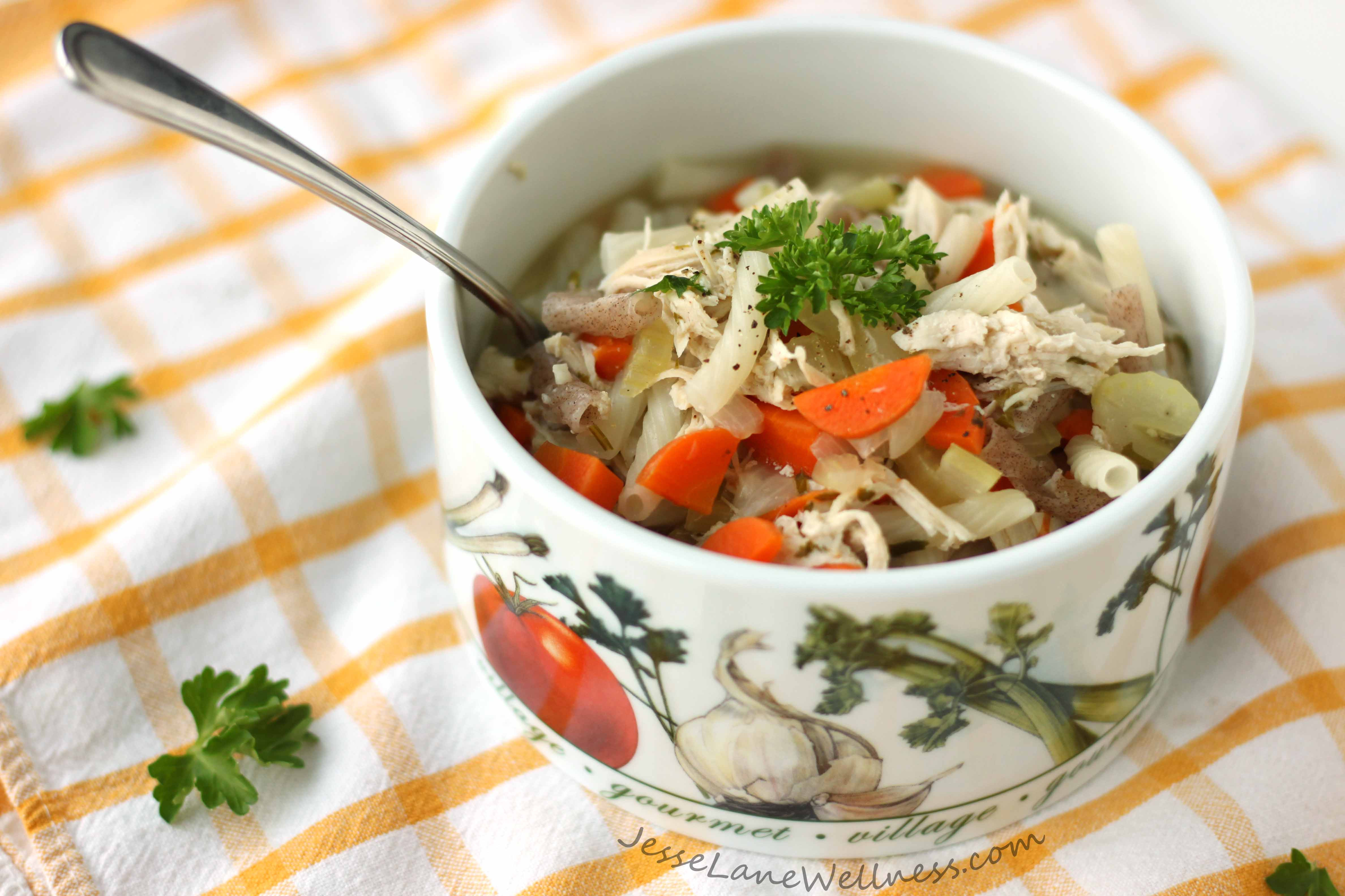 Chicken Noodle Soup Healthy  Healthy Chicken Noodle Soup Recipe by Jesse Lane Wellness