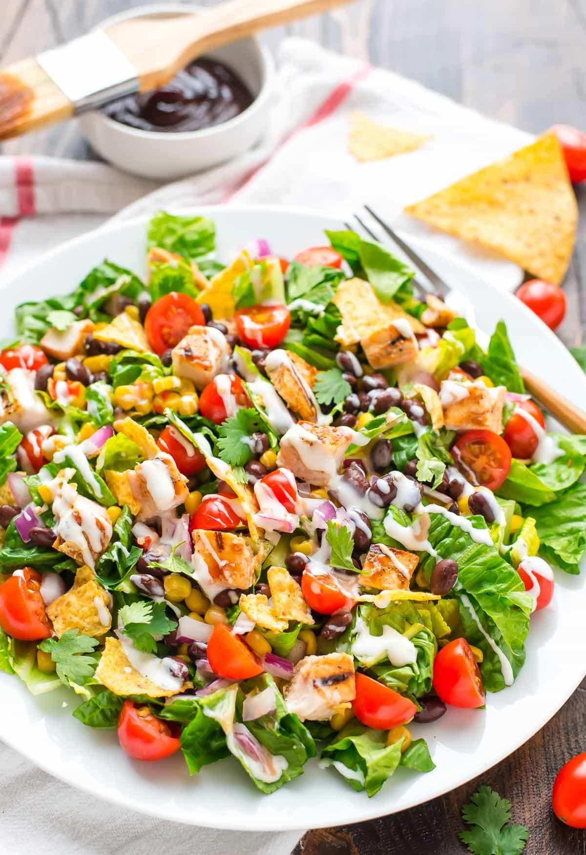 Chicken Salad Healthy  BBQ Chicken Salad with Creamy Ranch