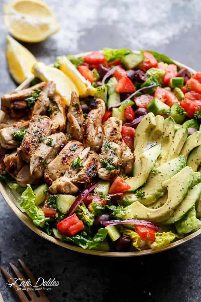 Chicken Salad Recipe Healthy  Grilled Lemon Herb Mediterranean Chicken Salad Cafe Delites