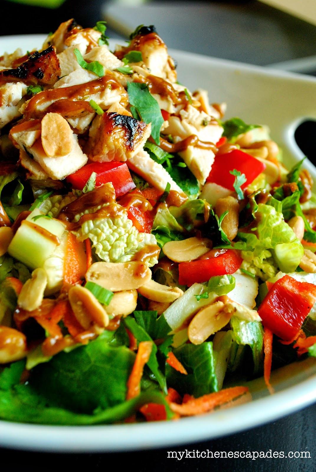 Chicken Salads Healthy  Healthy Thai Chicken Salad with Spicy Thai Peanut Sauce