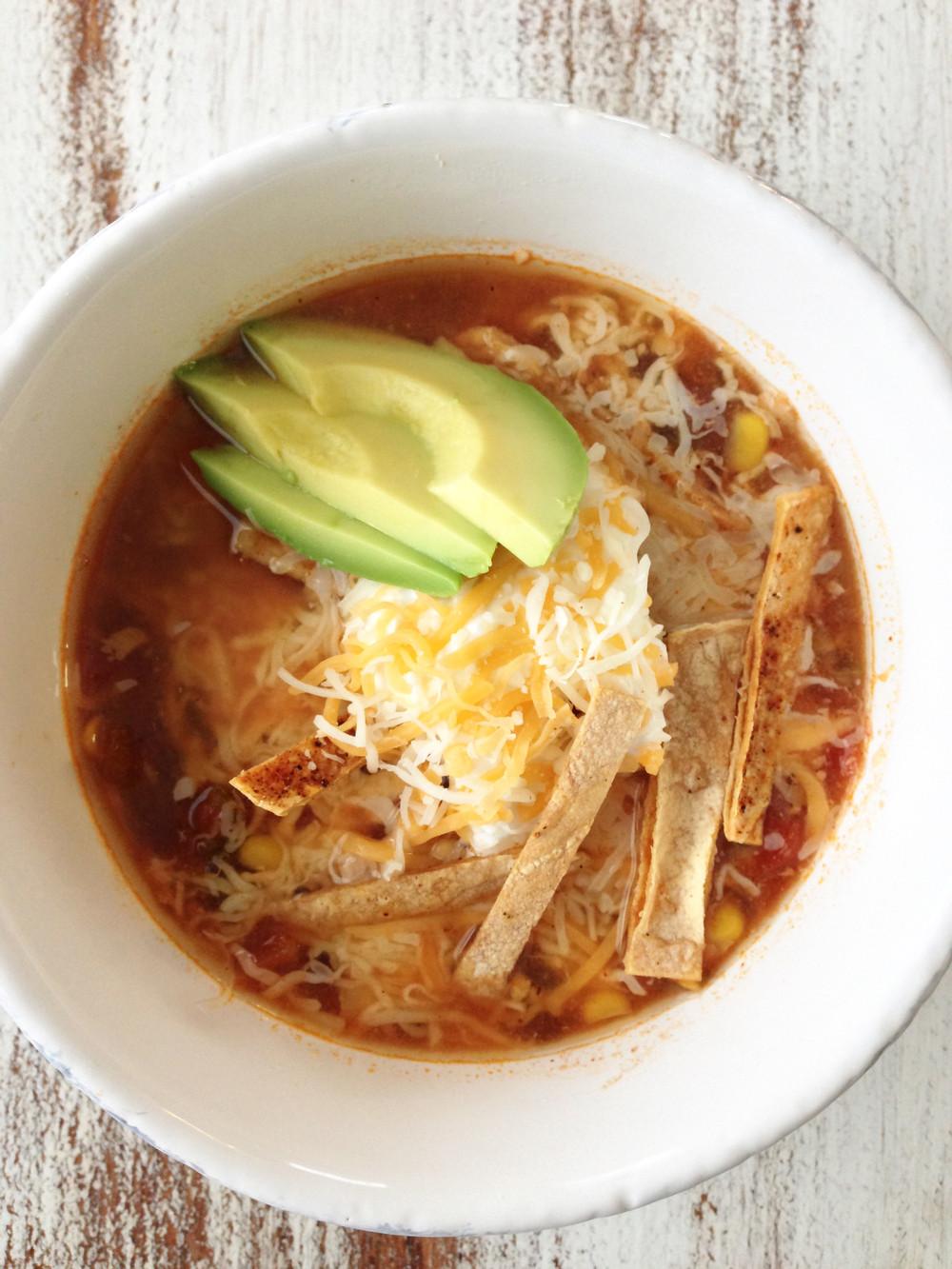 Chicken Tortilla Soup Crock Pot Healthy  Healthified Crock Pot Chicken Tortilla Soup — The Skinny Fork