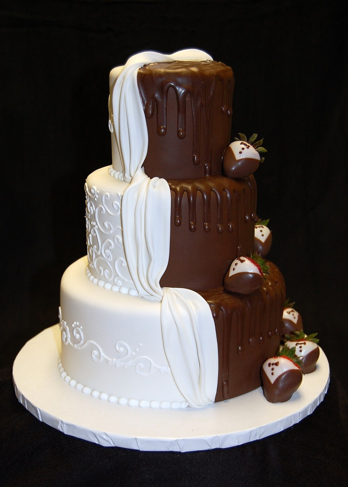 "Chocolate And White Wedding Cakes  Drea s Dessert Factory ""His and Hers"" Wedding Cake"