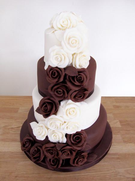 Chocolate And White Wedding Cakes  Wedding Cakes The Cakery Leamington Spa