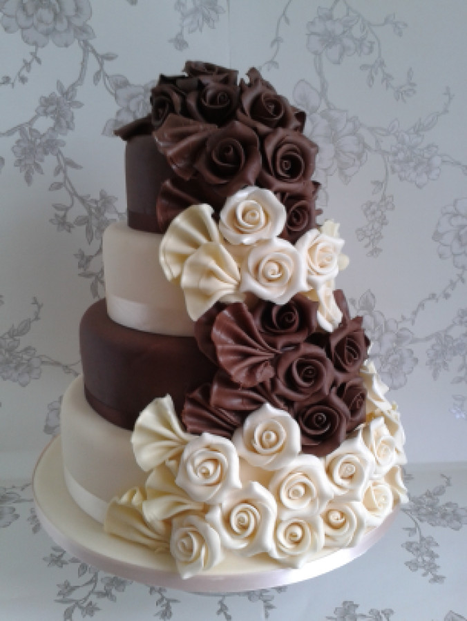 Chocolate And White Wedding Cakes  Chocolate and white wedding cake idea in 2017
