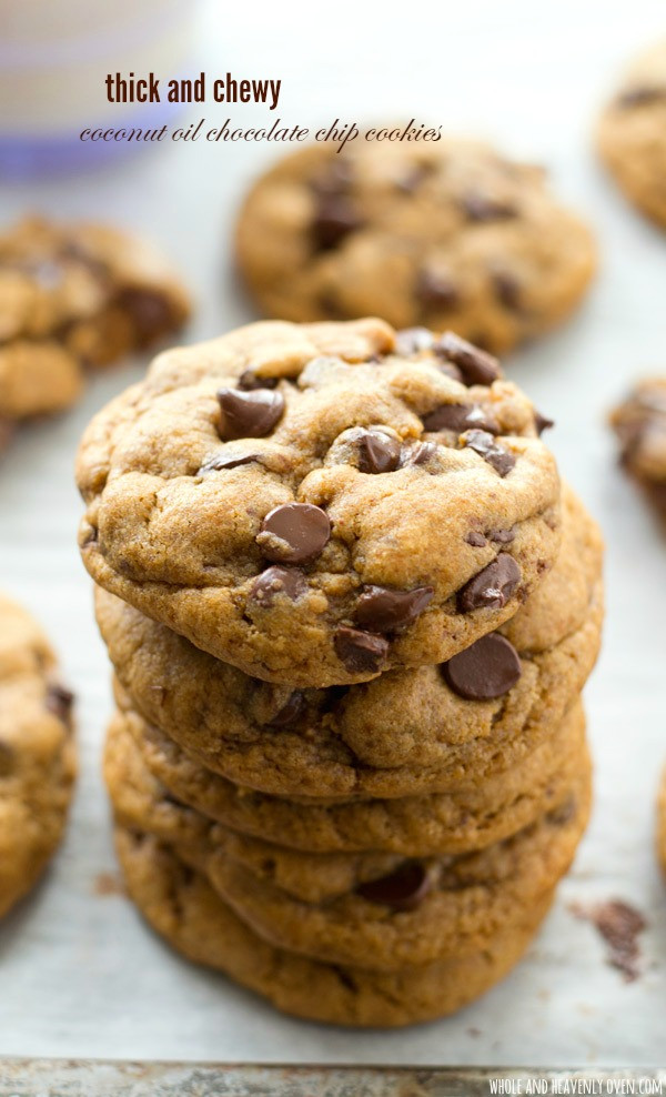 Chocolate Chip Cookies Recipe Healthy  Thick and Chewy Coconut Oil Chocolate Chip Cookies