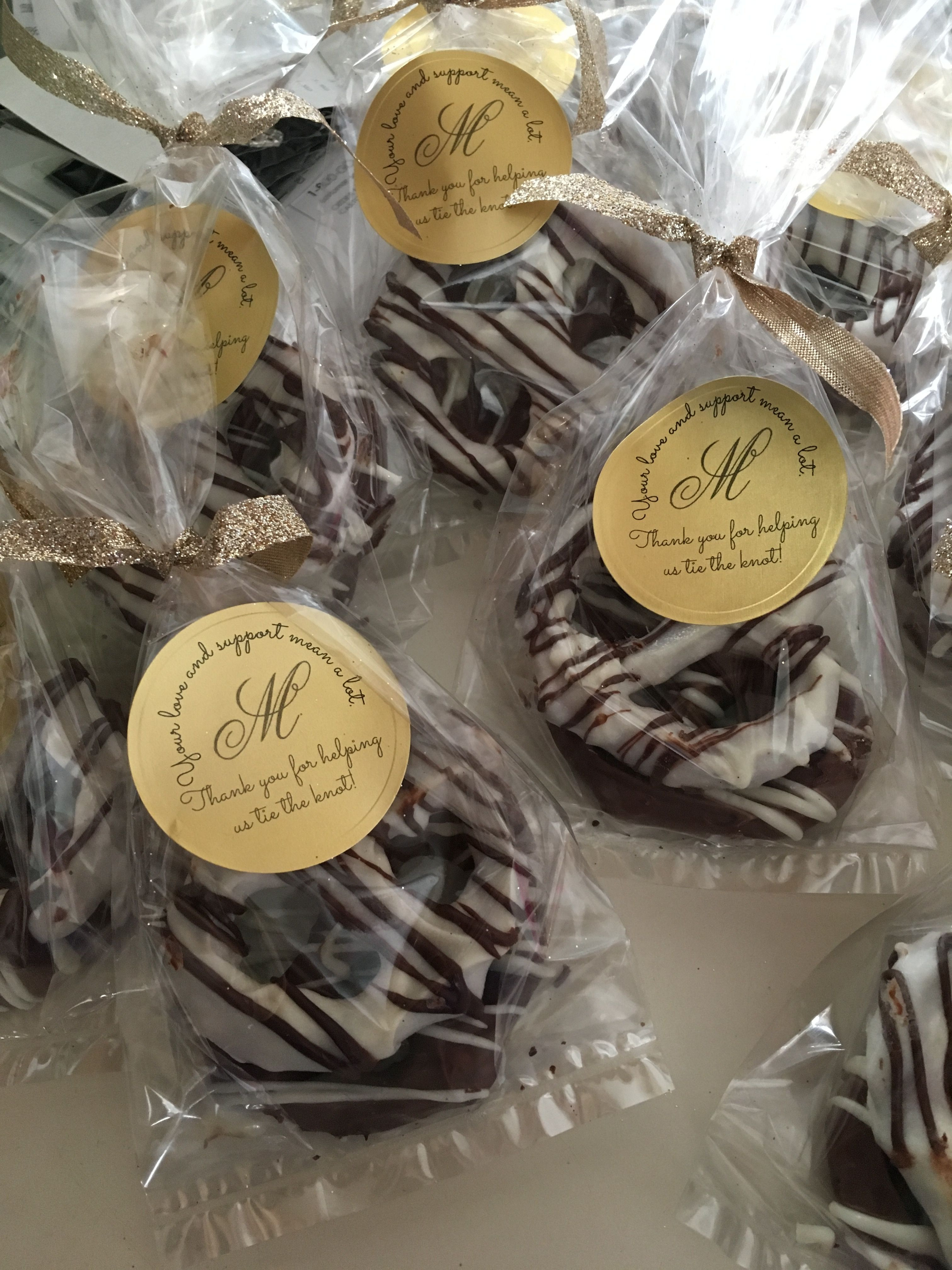 Chocolate Covered Pretzels Wedding Favors  Chocolate Covered Pretzel Knots Wedding Favors