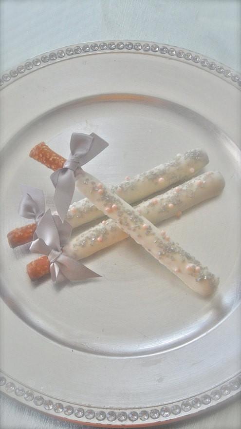Chocolate Covered Pretzels Wedding Favors  Edible Wedding Favors Silver and Pink Chocolate Dipped Pretzel