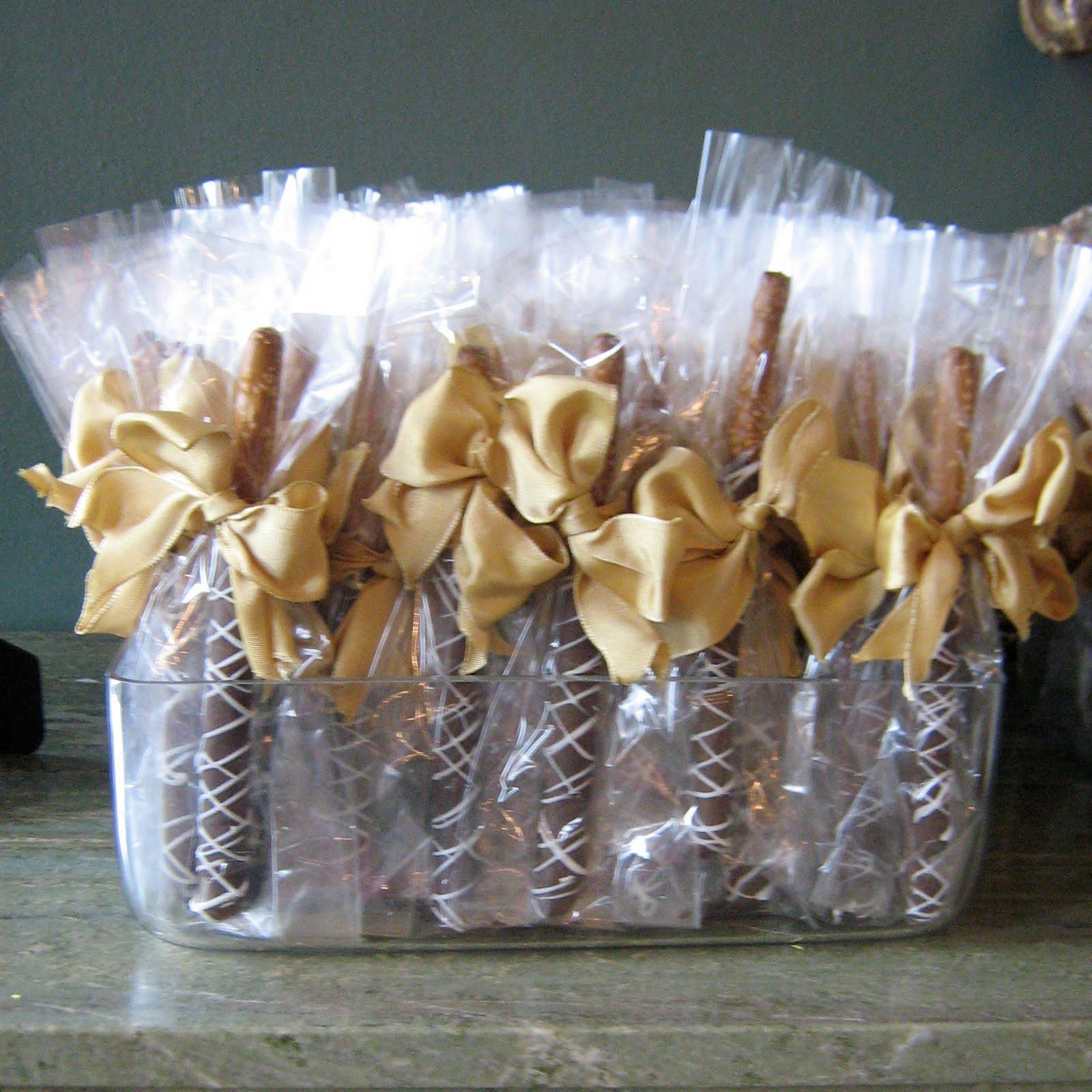 Chocolate Covered Pretzels Wedding Favors  Sublime Bakery Elegant Ivory Hexagonal Wedding Cake with