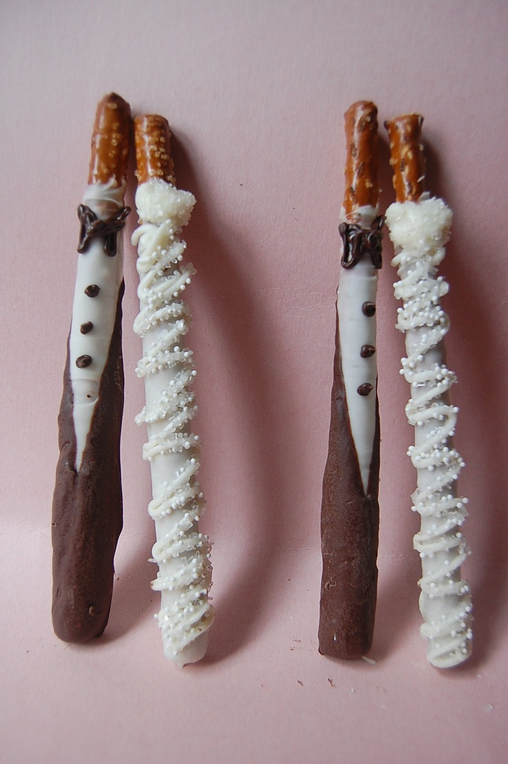Chocolate Covered Pretzels Wedding Favors  BRIDE and GROOM chocolate covered PRETZEL rods wedding