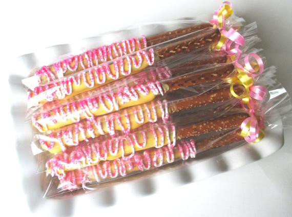 Chocolate Covered Pretzels Wedding Favors  12 Chocolate Covered Pretzels Pink Pretzels Chocolate dipped