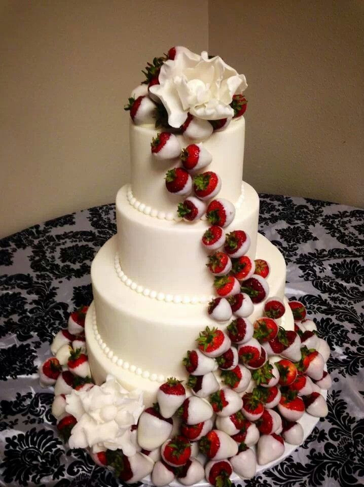 Chocolate Covered Strawberry Wedding Cakes  Wedding cake with white chocolate dipped strawberries