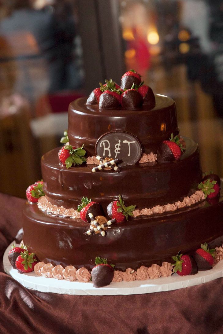 Chocolate Covered Strawberry Wedding Cakes  Tiered Chocolate Wedding Cake with Chocolate Covered