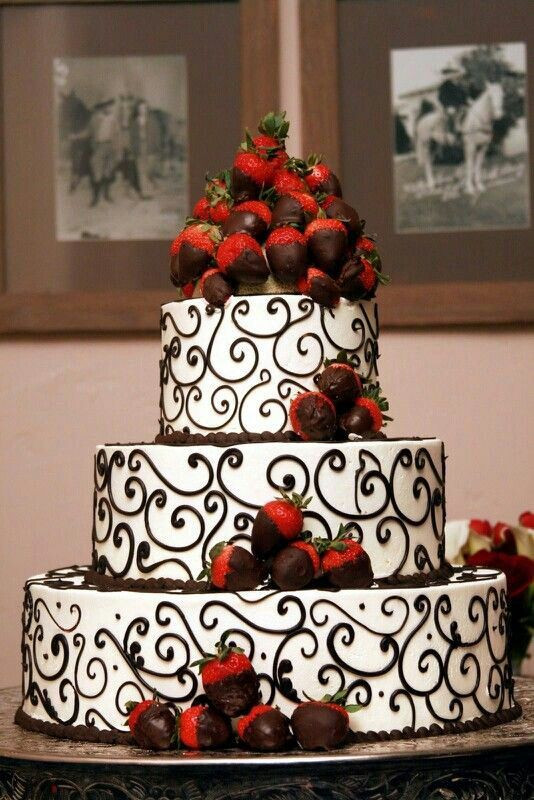 Chocolate Covered Strawberry Wedding Cakes  Black and White Detailed wedding cake with Chocolate