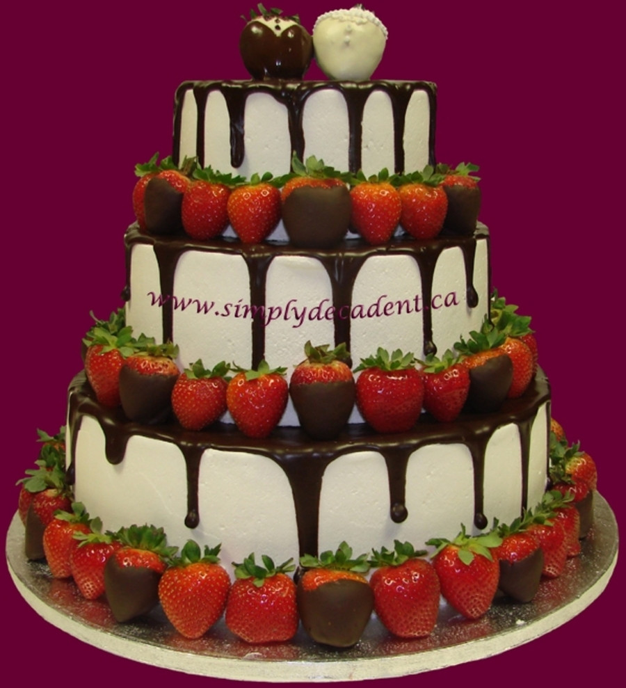 Chocolate Covered Strawberry Wedding Cakes  Wedding Cake With Chocolate Dipped Strawberries And