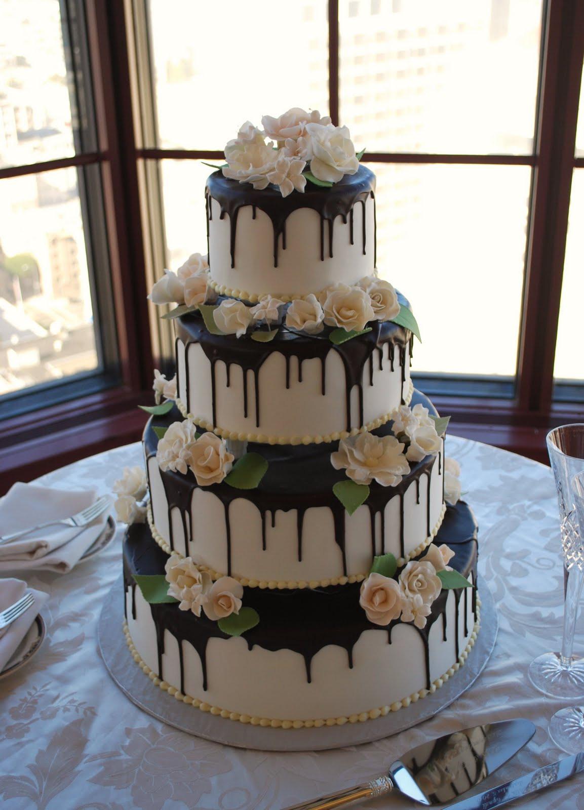 Chocolate Ganache Wedding Cakes  The Beehive Chocolate Ganache White Rose Cake