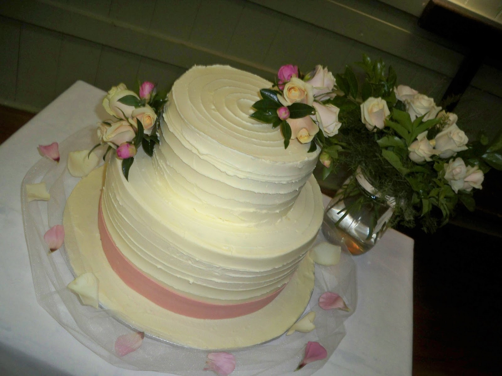 Chocolate Ganache Wedding Cakes  simple white chocolate ganache wedding cake with pink
