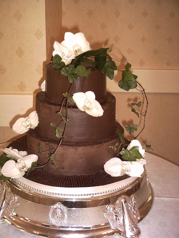 Chocolate Ganache Wedding Cakes  Three Tier Chocolate Ganache Covered Wedding Cake