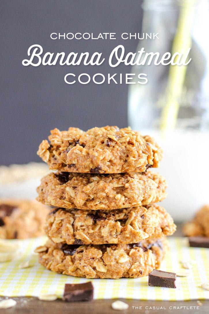 Chocolate Oatmeal Cookies Healthy  Healthy Chocolate Chunk Banana Oatmeal Cookies