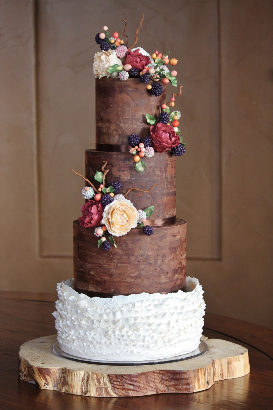 Chocolate Wedding Cakes Pictures  Rustic And Organic Wedding Cake With Chocolate Ganache