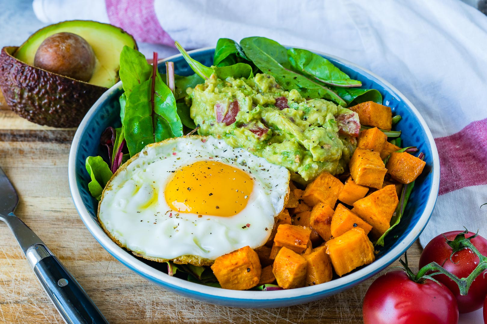 Clean And Healthy Eating  Clean Eating Guacamole Egg Sweet Potato Breakfast Bowls